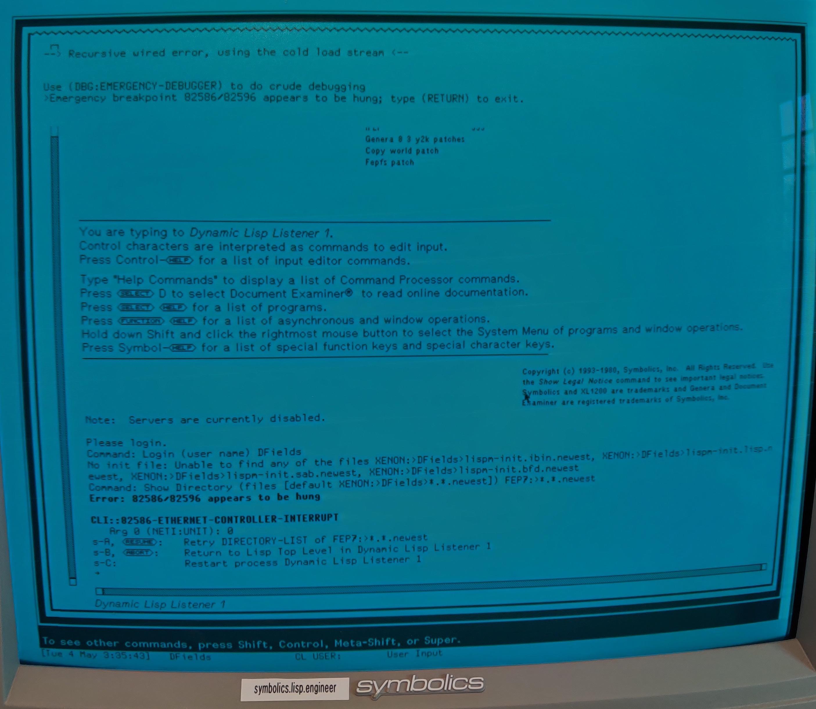 Screenshot with Ethernet Error